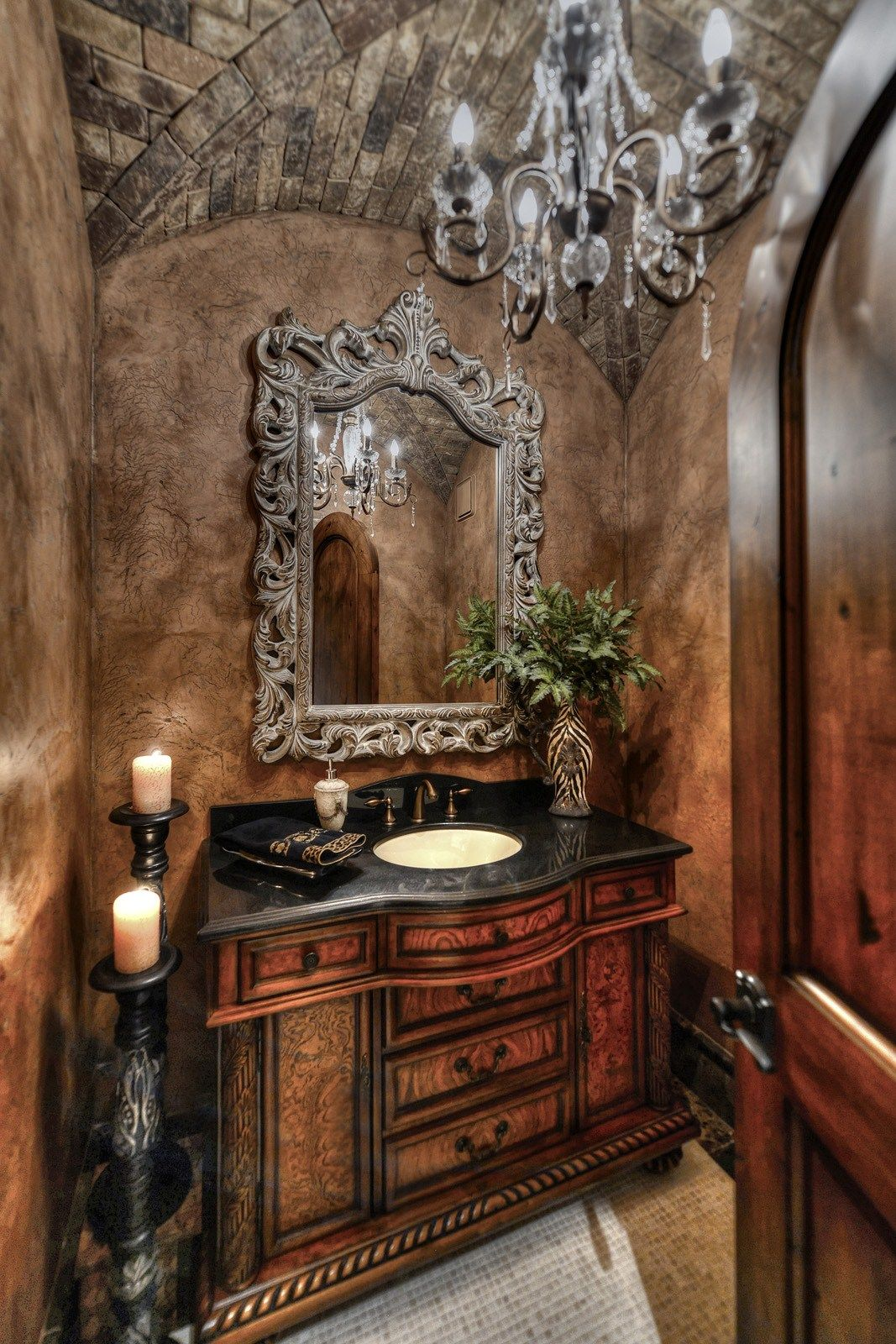 Glamorous Powder Room With Brick Groin Vault Ceiling In