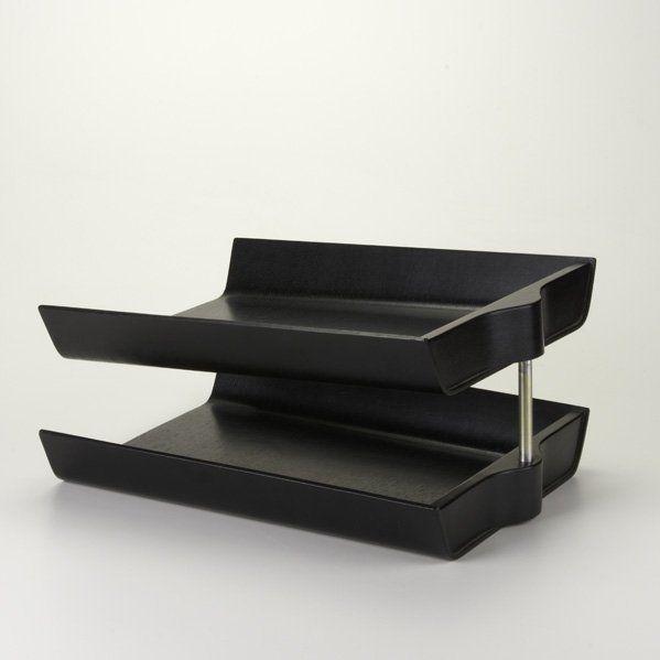 Florence Knoll; Ebonized Bent Plywood and Aluminum Letter Tray, c1950.