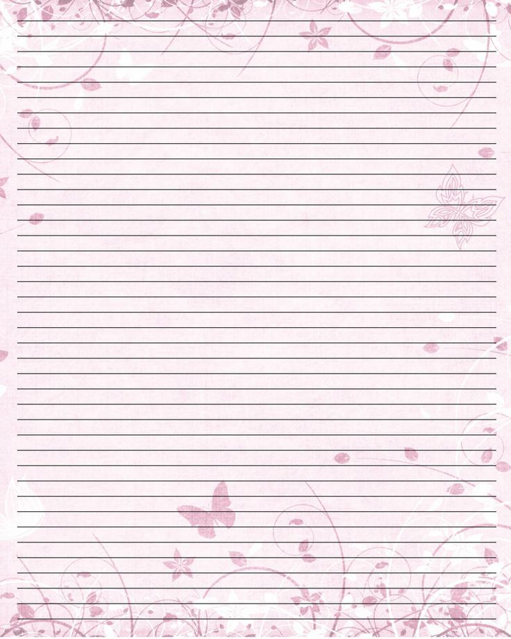 Lined Pink Butterfly Stationery  Stationery