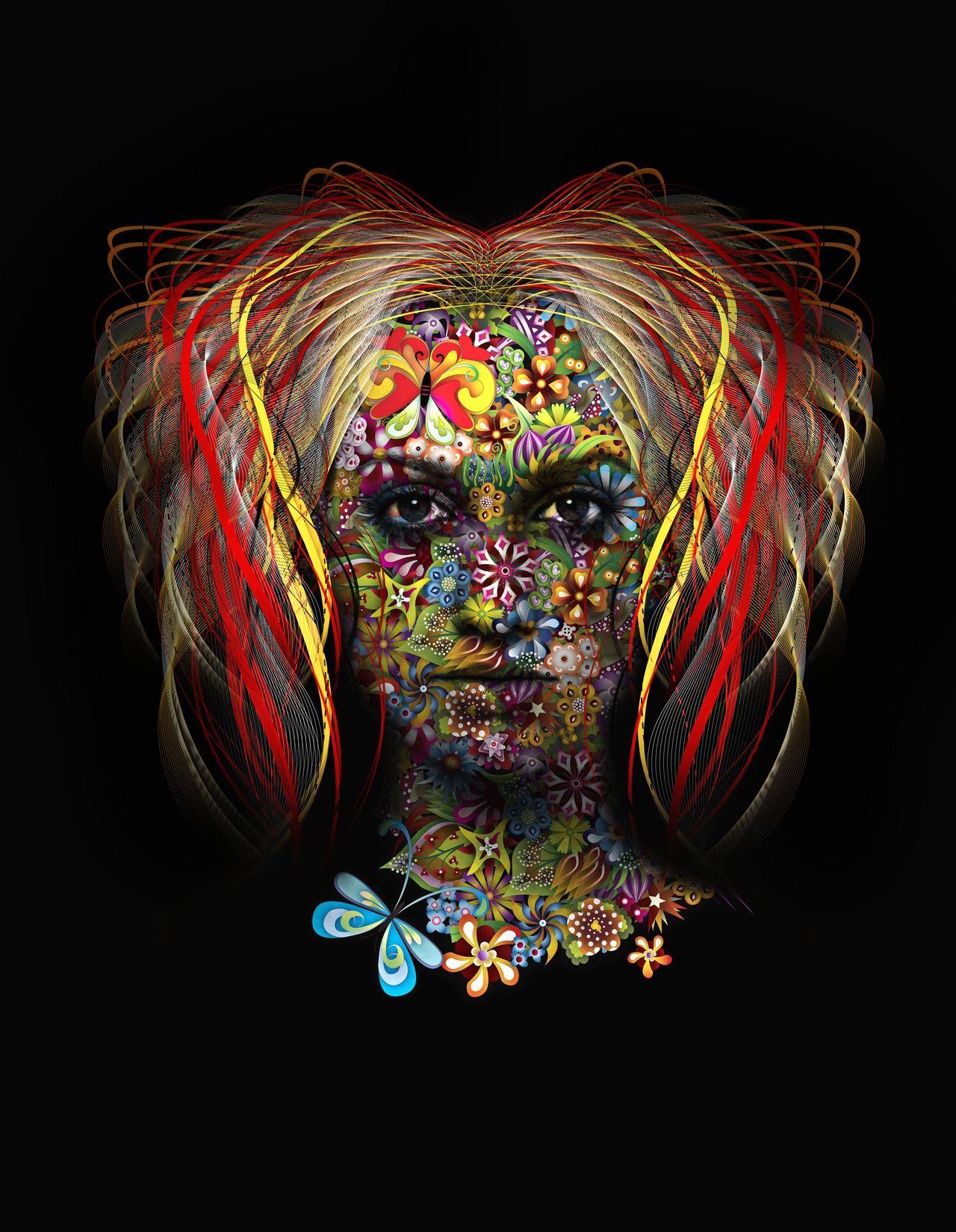 Flower face creative artwork famous artwork face