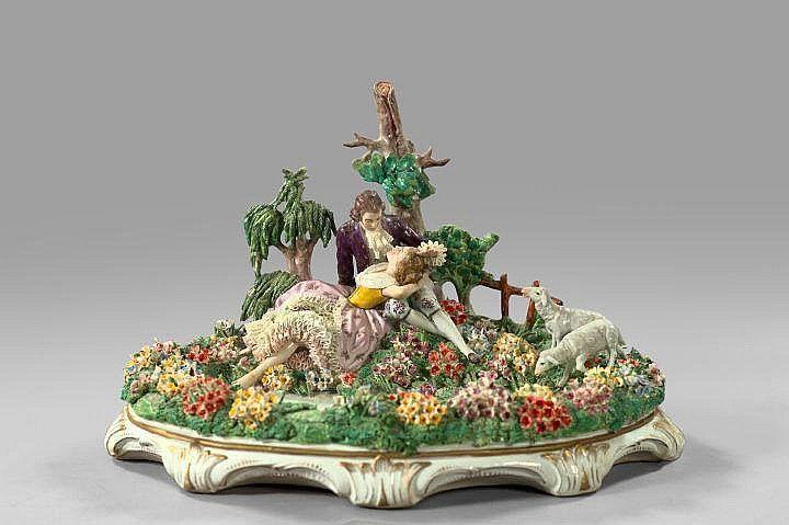 """Elaborate Sitzendorf Porcelain """"Lace"""" Galants"""