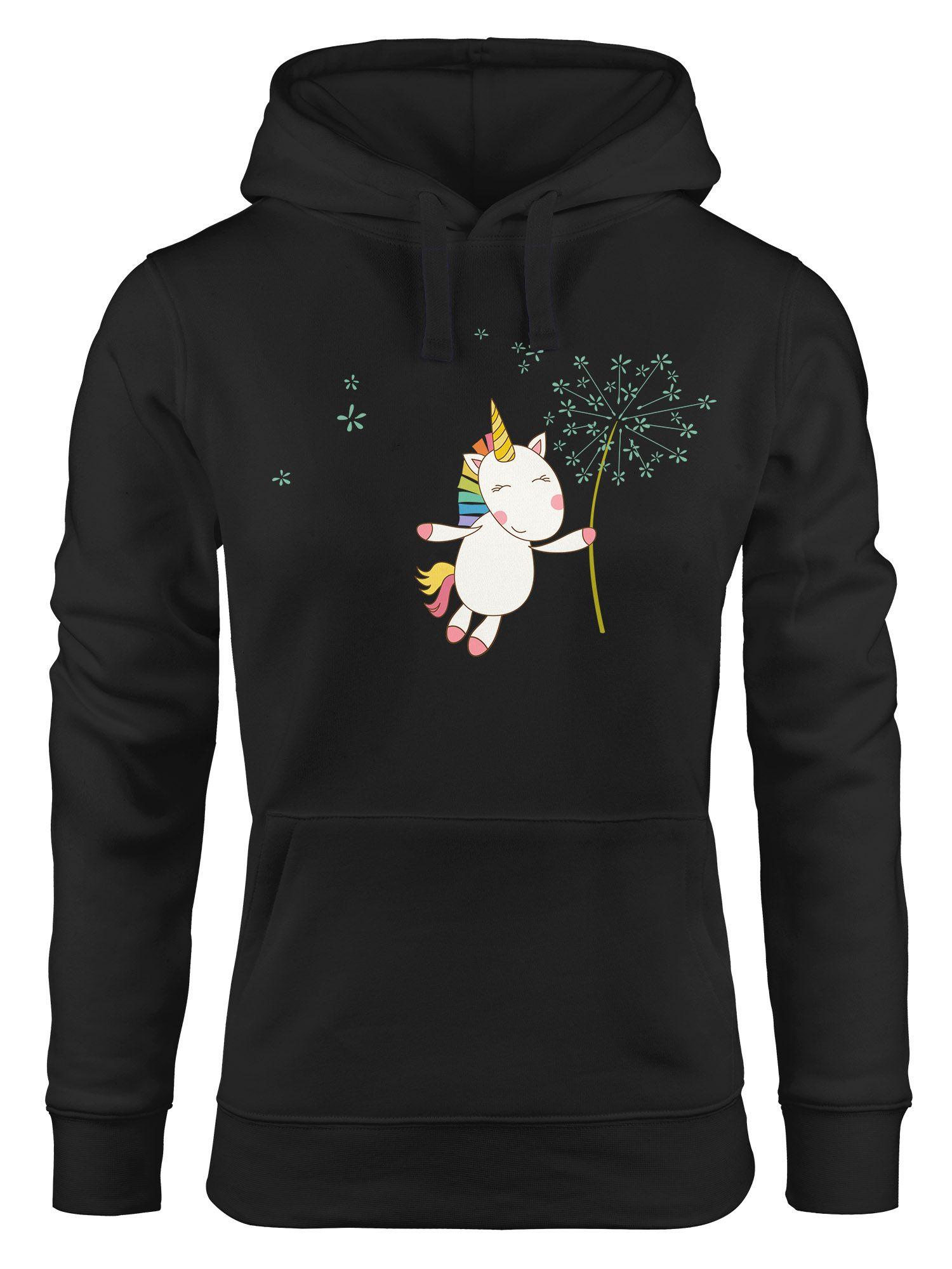 a1100c43055797 Kapuzen-Pullover Damen Einhorn mit Pusteblume Unicorn with Dandelion Hoodie  Moonworks®