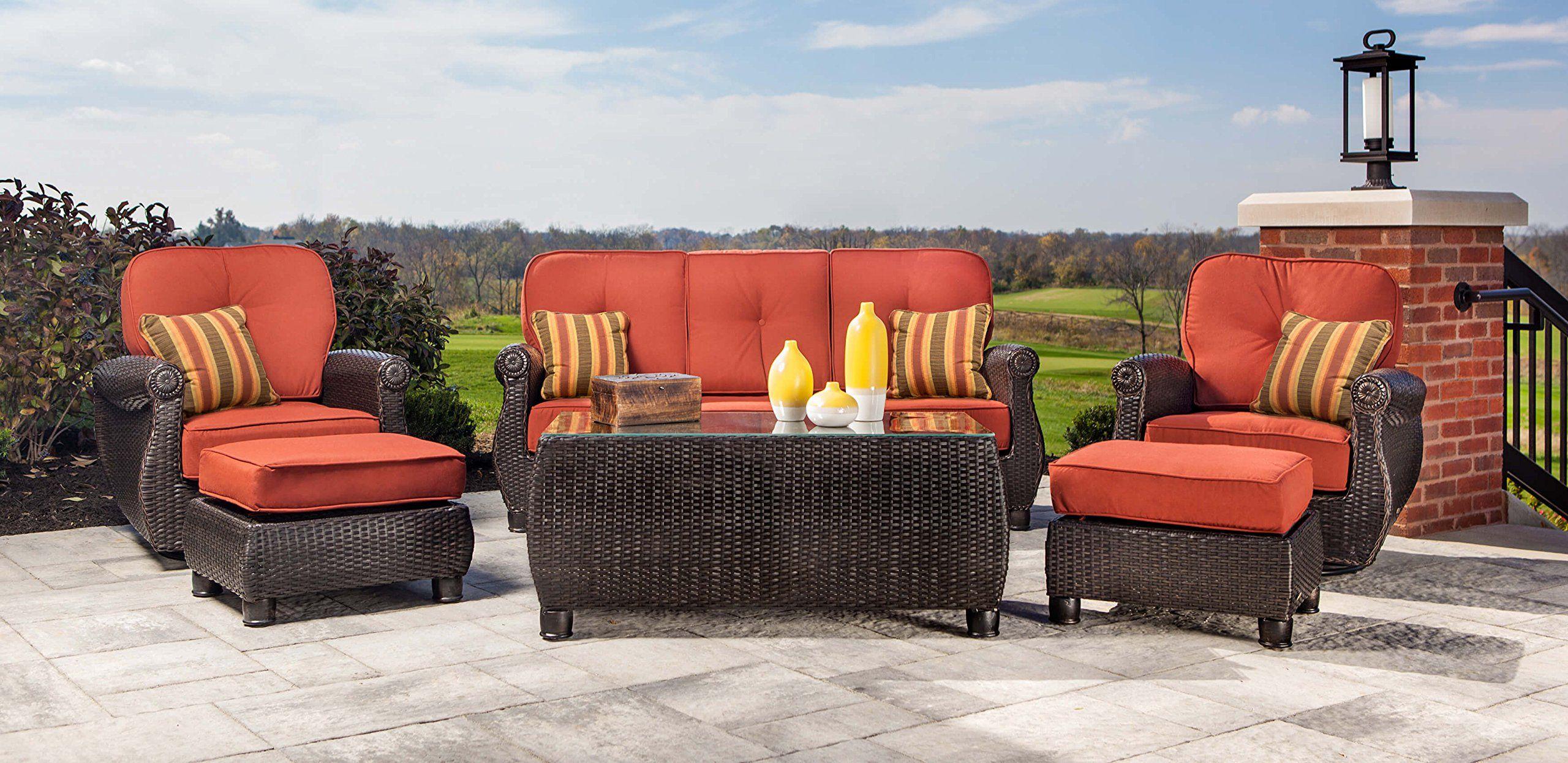 Lazboy Outdoor Breckenridge Resin Wicker Patio Furniture Ottomans 2 Piece Set Brick Red With A Resin Wicker Patio Furniture Patio Furniture Sets Patio Loveseat
