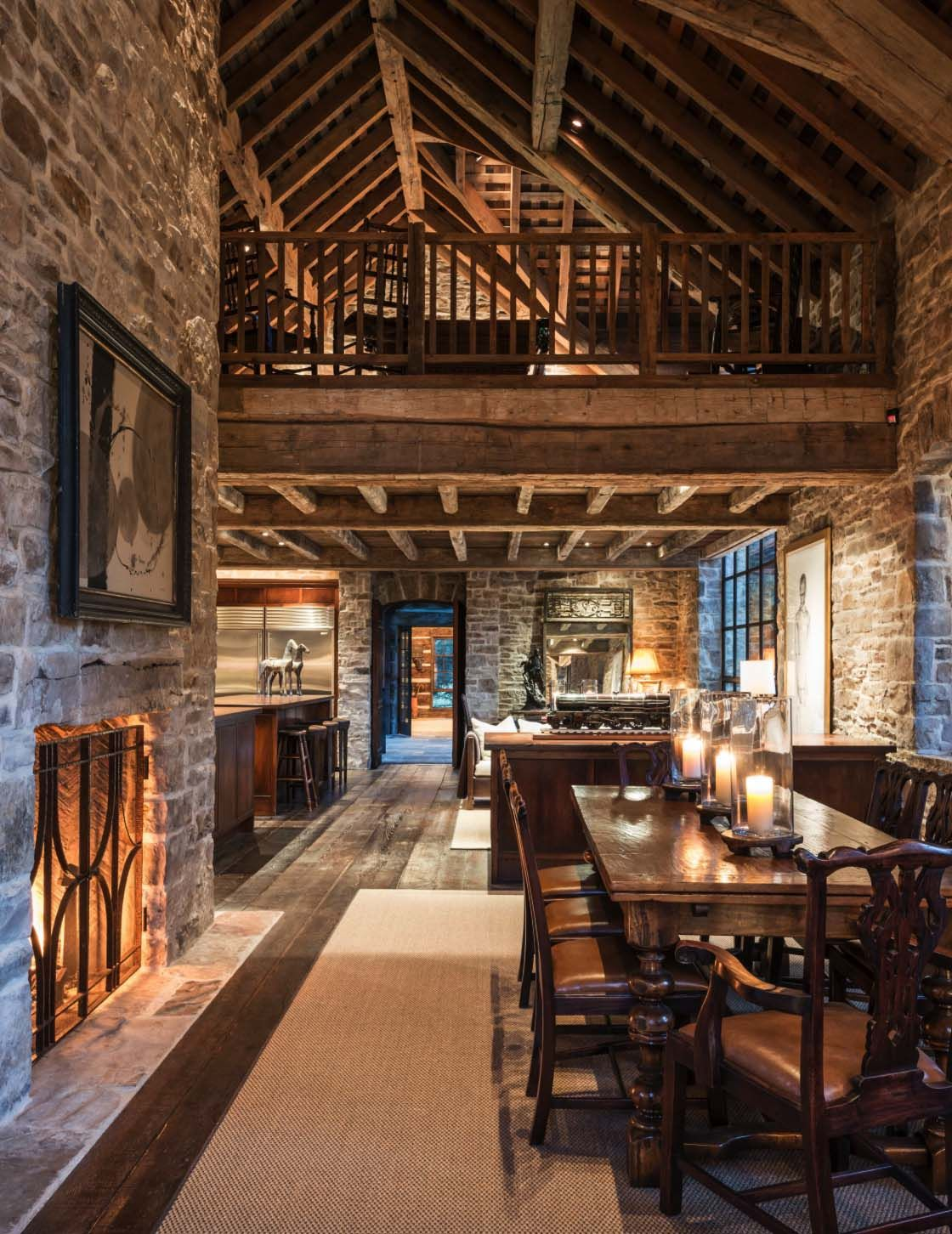 Rustic stone and timber dwelling overlooking the Grand Tetons