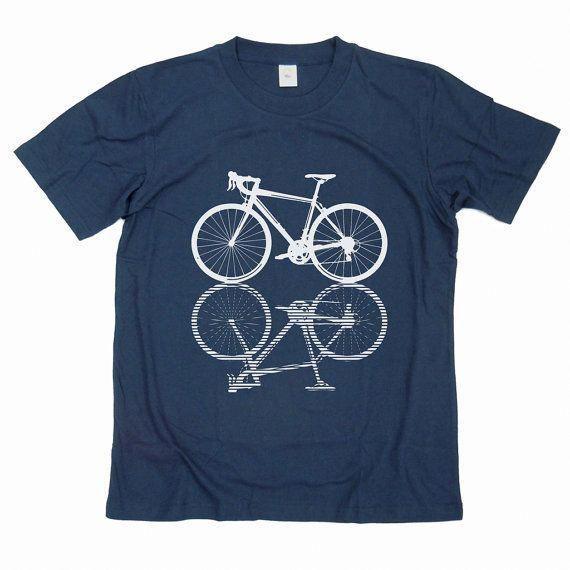 Road bicycle Tshirt hand printed on dark blue by GreenlakeTee 1500  Road bicycle Tshirt hand printed on dark blue by GreenlakeTee 1500