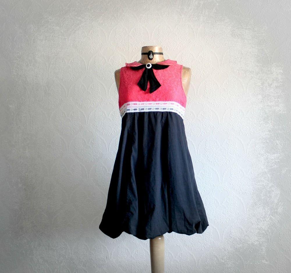 Image of Coral Lace Women's Mini Dress Long Tunic Top Black Bow Tie Boho Women's Clothes L
