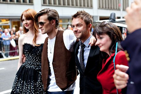 "Our own Chris Hardwick with Karen Gillan, Matt Smith & Caroline Skinner before the ""Doctor Who"" screening in NYC!"