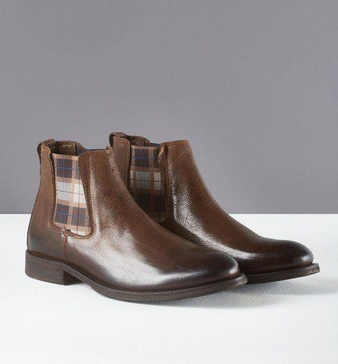 Boots Chelsea en cuir Homme marron - Promod
