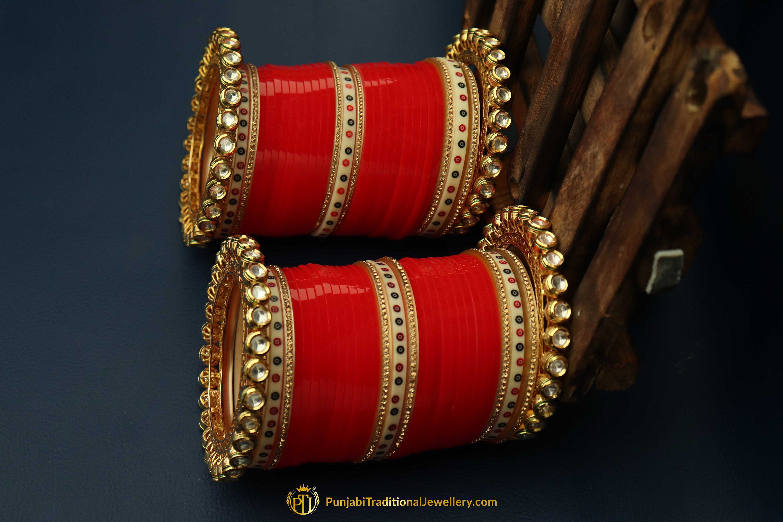 Red Color Kundan/Jerkan Wedding Bridal Chura By Punjabi Traditional