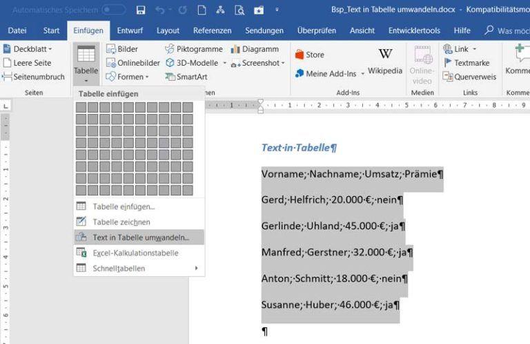 WORD-Quicktipp: Text in Tabelle umwandeln   Anuschka ...