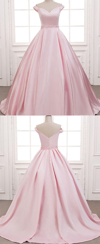 Wonderful satin offtheshoulder neckline aline prom dresses with