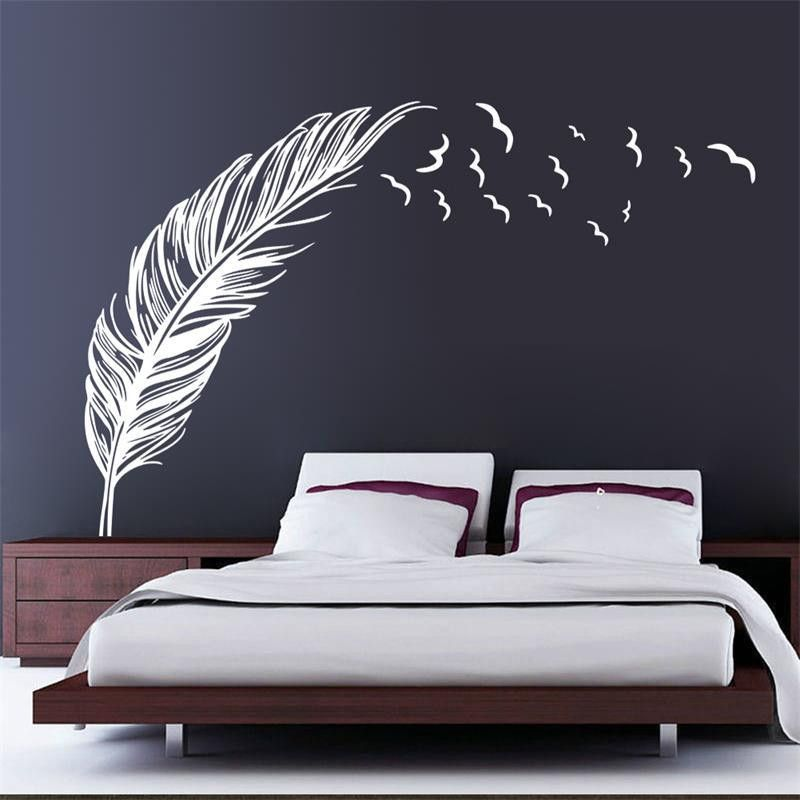 2016 size pvc wall sticker birds feather bedroom home decal mural art decor 3 color available in wall stickers from home