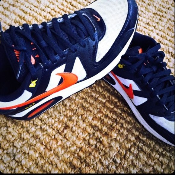 Nike Sneakers Near PERFECT condition. White, orange, and navy. Worn very minimally last year. Nike Air Max. Nike Shoes Athletic Shoes