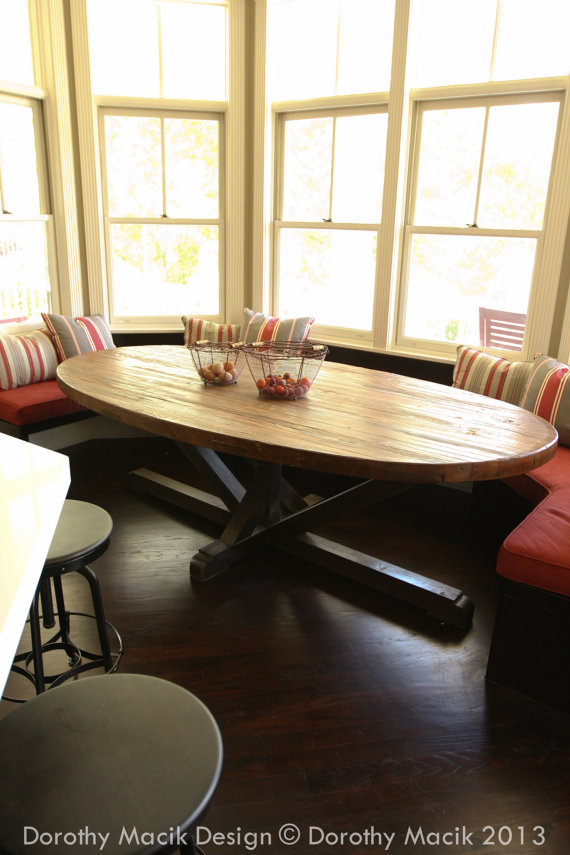 Custom Butcher Block Strip Oval Wood Dining Table From Reclaimed