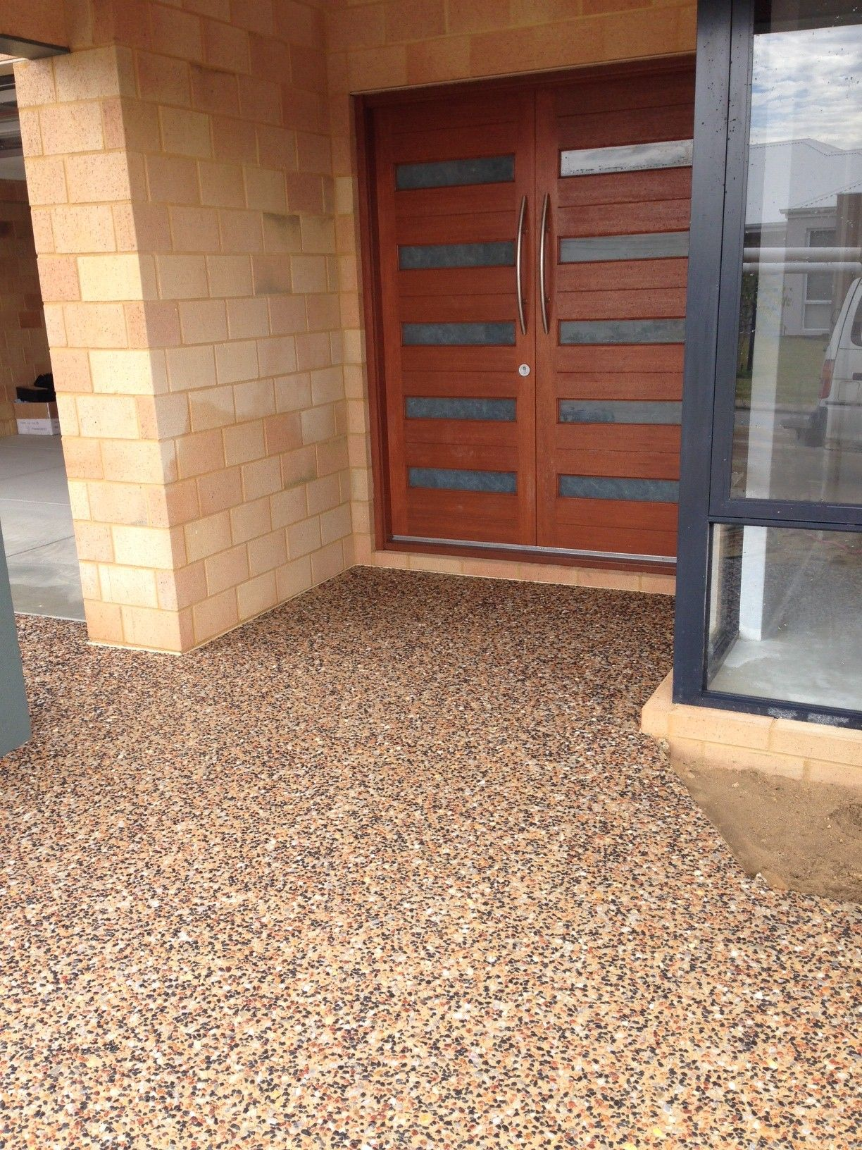 Sealing exposed aggregate pool deck - Our Beautiful New Driveway And Portico Paving Exposed Aggregate In The Same Tones As