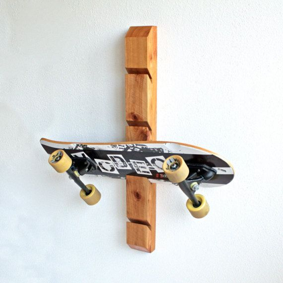 Wooden Skateboard Rack Wall Mounted Holder Organizer Etsy Skateboard Rack Skateboard Display Skateboard Room
