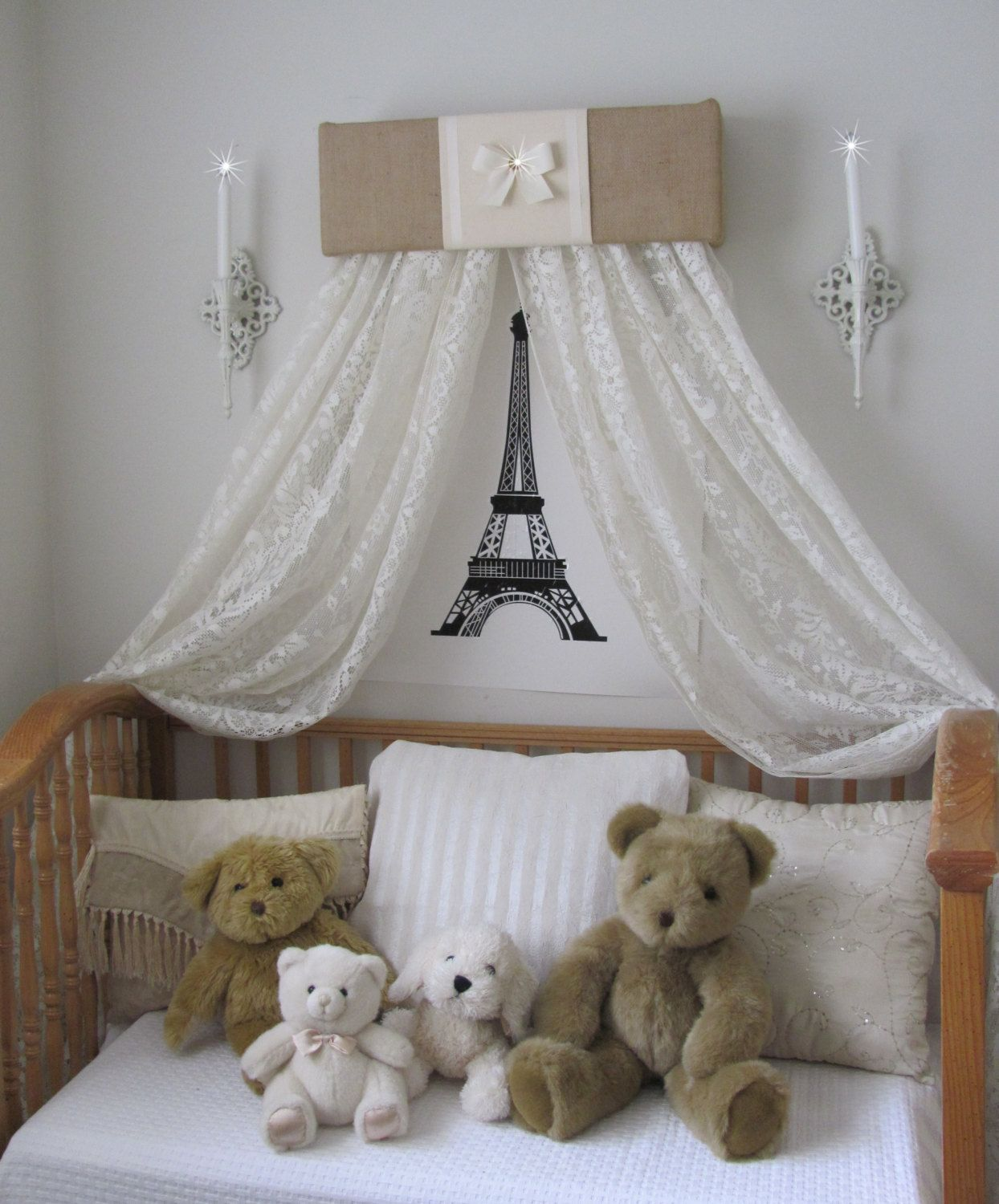 Crib for sale in thailand - Burlap Cream Sale Dosel Padded Bed Teester Crib Canopy Crown Girls Room Decor Wall Hanging Baby