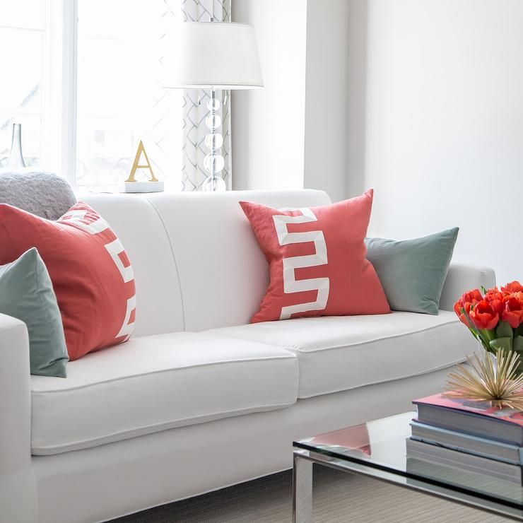 White Sofa With Red And Gray Pillows Grey Pillows Sofa Rolled Arm Sofa