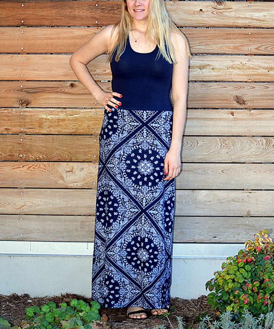 Another great find on zulily navy u white bandanna maxi dress