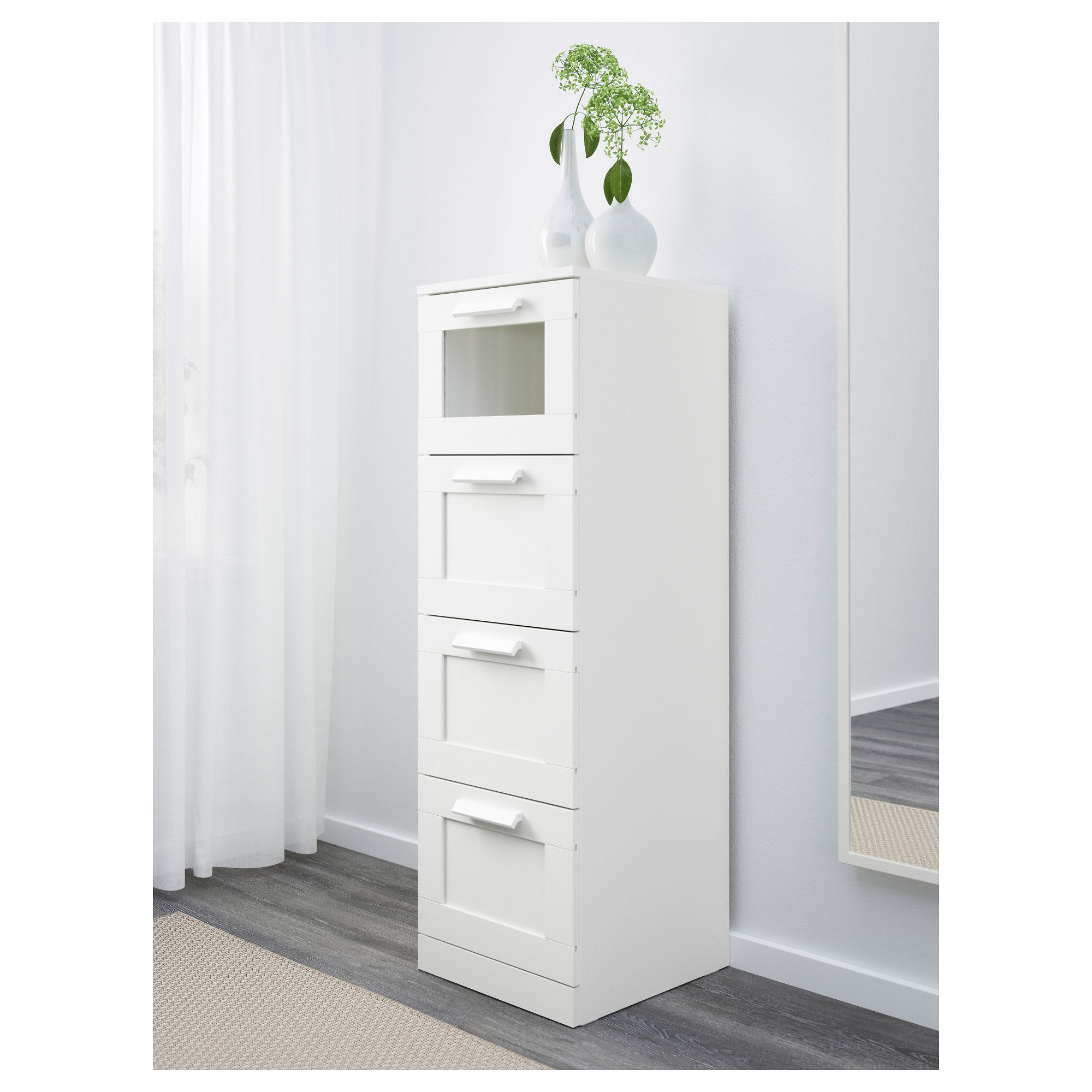 Brimnes 4 Drawer Chest White Frosted Glass Ikea Brownstone