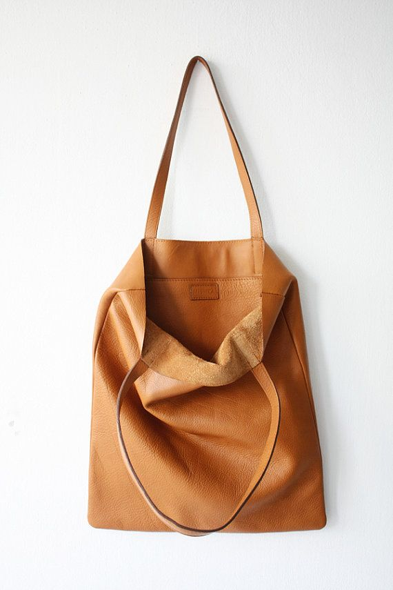 ANYA Basic Camel Brown Leather Tote Bag by MISHKAbags on Etsy   Tote ... ca68235037