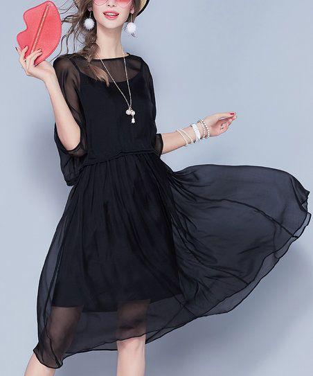 Vicky and Lucas Black Silk Fit & Flare Dress Set | zulily