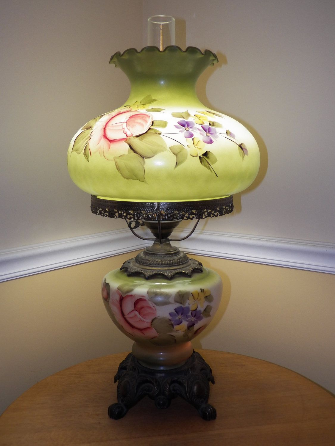 Vintage Glass Hand Painted Table Lamp Floral Flower Design Green With Brass Base Victorian Cottage Chic Home Acc Hand Painted Table Painted Table Oil Lamps