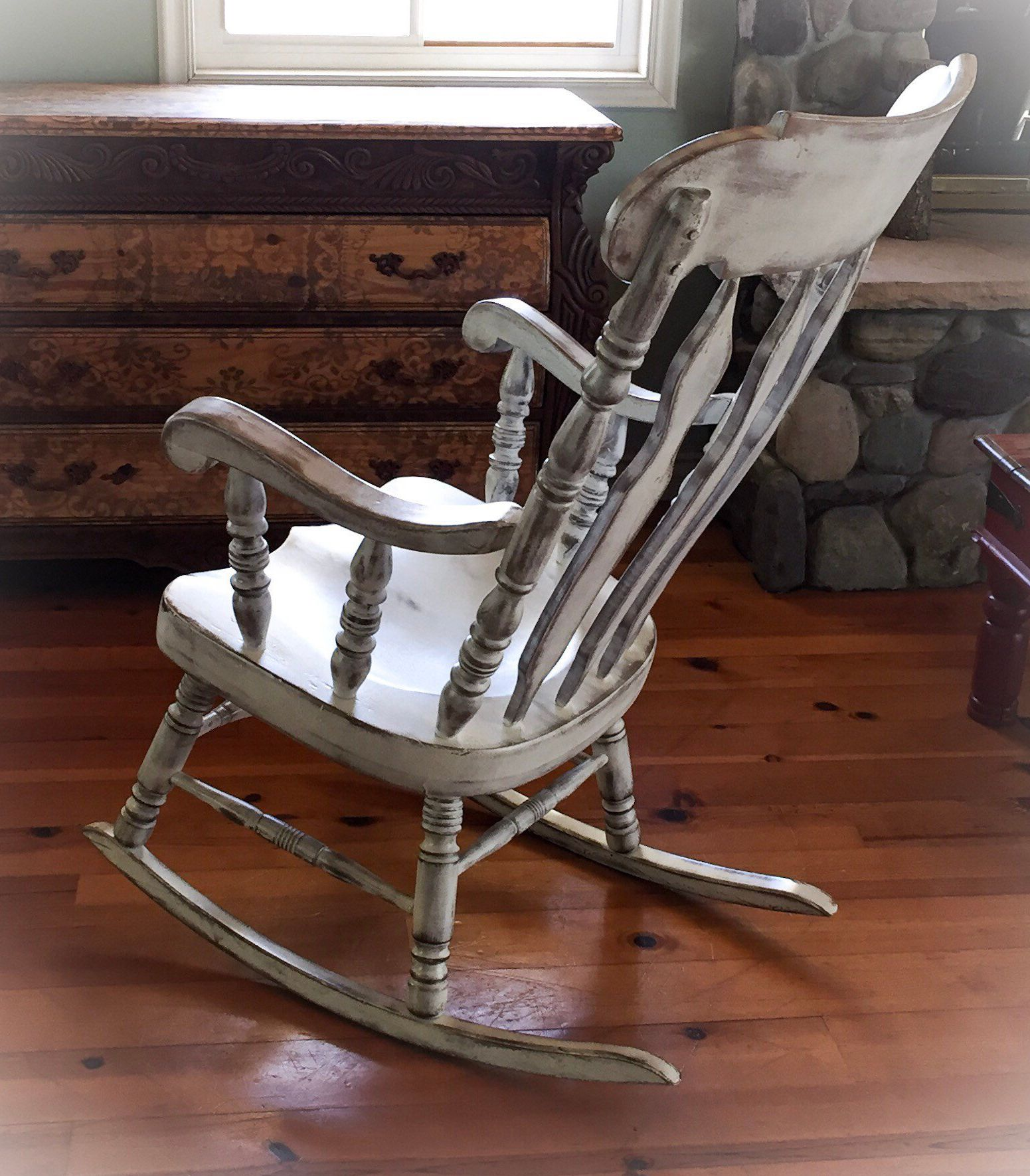 Remarkable Large Rocking Chair Shabby Chic Rocker Painted Furniture Dailytribune Chair Design For Home Dailytribuneorg