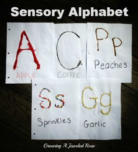 Learning the Alphabet Sensory Style.  Each letter is made using a different sensory material to give the letters varying textures and scents