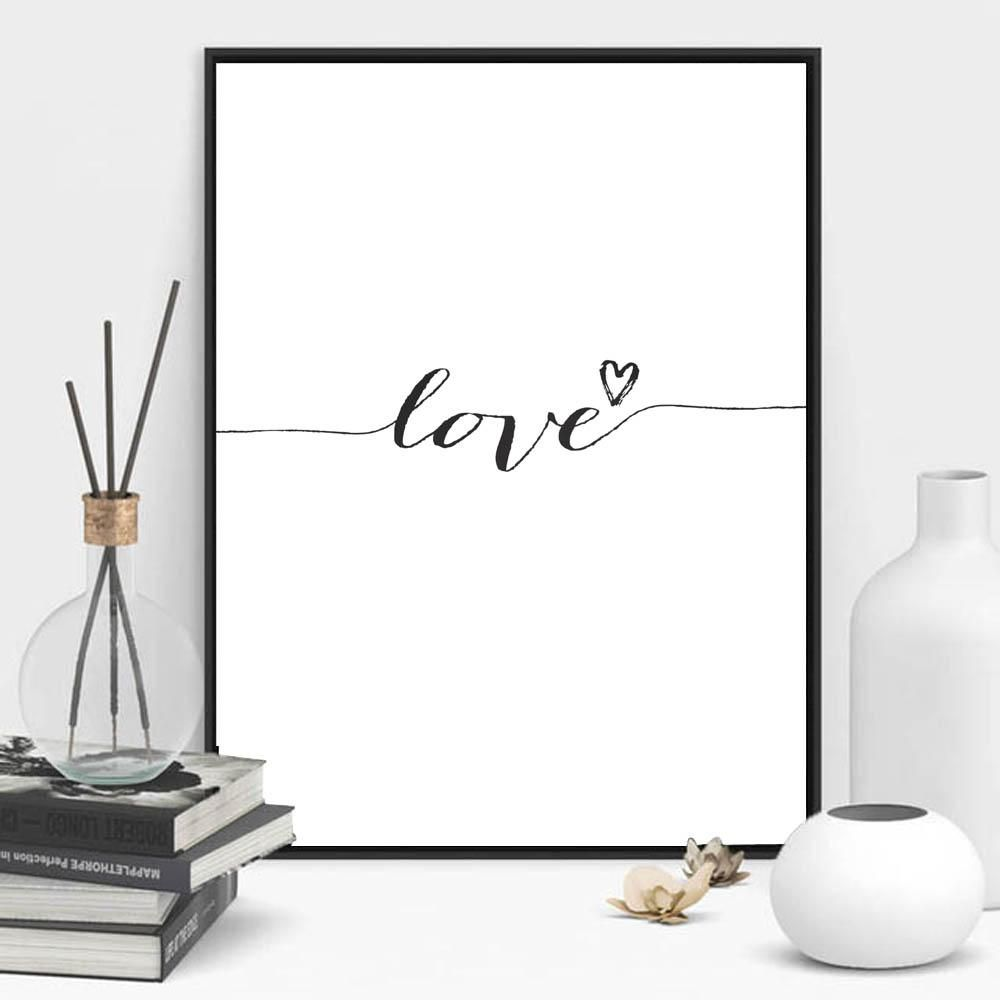 Love Sign Word Art Black White Poster Canvas Prints Art inspirational wall modern home decor painting on the wall pictures 2163A