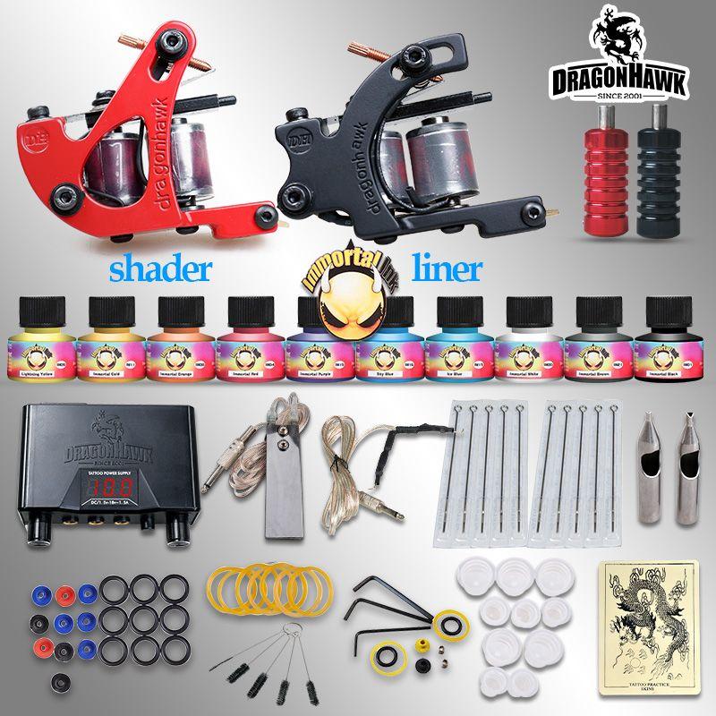 Beginner tattoo starter kits 2 guns machines 10 ink sets