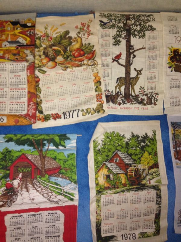 Vintage Hanging Cloth Calendars. Linens. Actually they still do these.