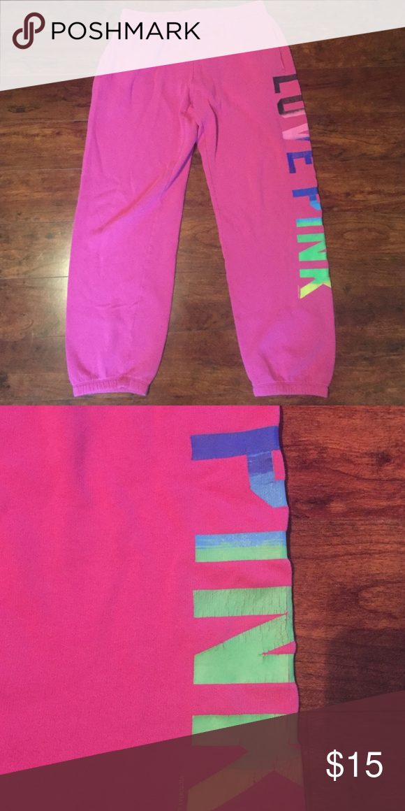 PINK sweatpants Pink sweatpants, the lettering is a little worn PINK Victoria's Secret Pants Track Pants & Joggers