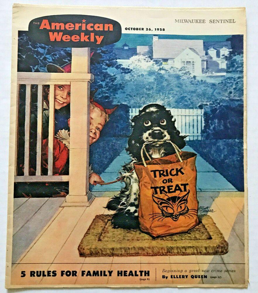 Treats Magazine Halloween Party 2020 VINTAGE 1958 Halloween TRICK OR TREAT Black Cat THEMED American