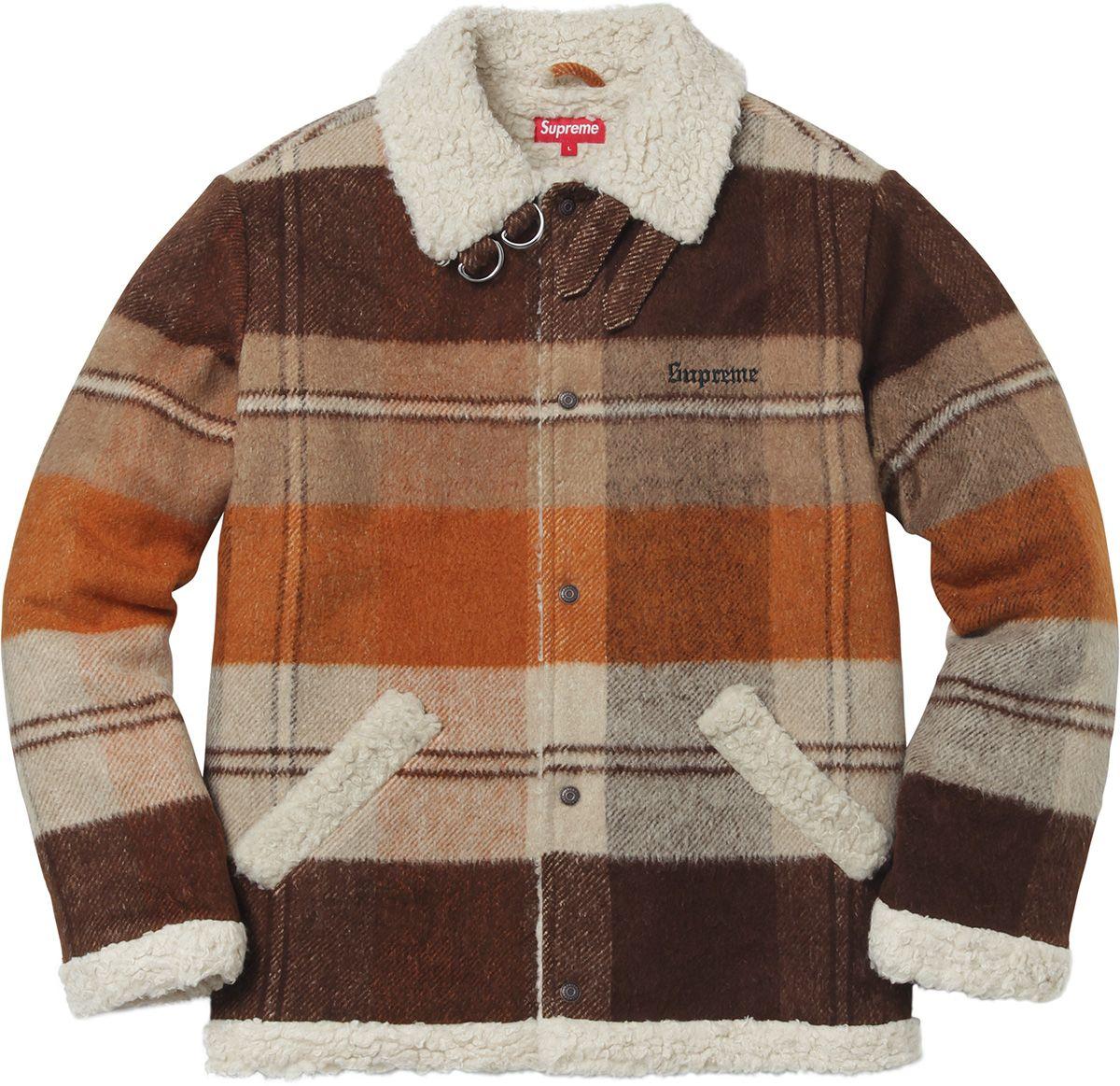 fa9589aac097 Supreme - Plaid Shearling Bomber   Clothes   Shearling jacket, Brown ...