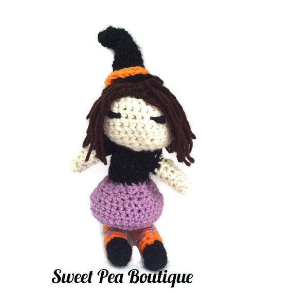 This crochet Halloween toy set is perfect for your child. It includes a witch, black cat, and a pumpkin. Each one is made with soft acrylic yarn and filled with polyfil filling. Size: Witch- 9 inches tall  Black cat- 9 inches tall  Pumpkin- 4 inches tall    Check out our other items: https://www.etsy.com/listing/465965928/monster-crochet-crochet-monster-baby?ref=listing-shop-header-0    Please see our shop policies: https://www.etsy.com/shop/SweetPeaBoutique15?ref=l2-shopheader-name#policies