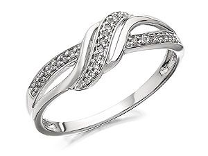 9ct White Gold Diamond Crossover Ring 9pts 047102 Gold Rings