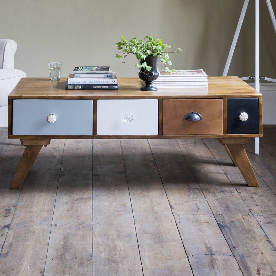 Milligan Retro Multi Drawer Coffee Table In 2019