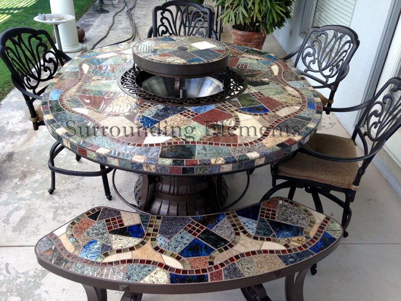 5 X 6 Oval Leg Warmer Mosaic Table With Ornate Trim Ring Lazy