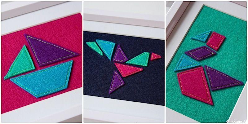 Tangram Wandbilder aus Filz - Ich mochte das japanische Tangram Puzzlespiel bereits in Kindertagen sehr gern und nun habe ich mir ein paar bunte Tangram-Wandbilder aus Filz genäht. Ich mag meine neuen Wandbilder richtig gerne anschauen, sie sind farbenfroh und erinnern mich an Sommer, Sonne und Meer. Was gibt es Schöneres als sich einen täglichen Moment eines Urlaubsgefühls zu gönnen?