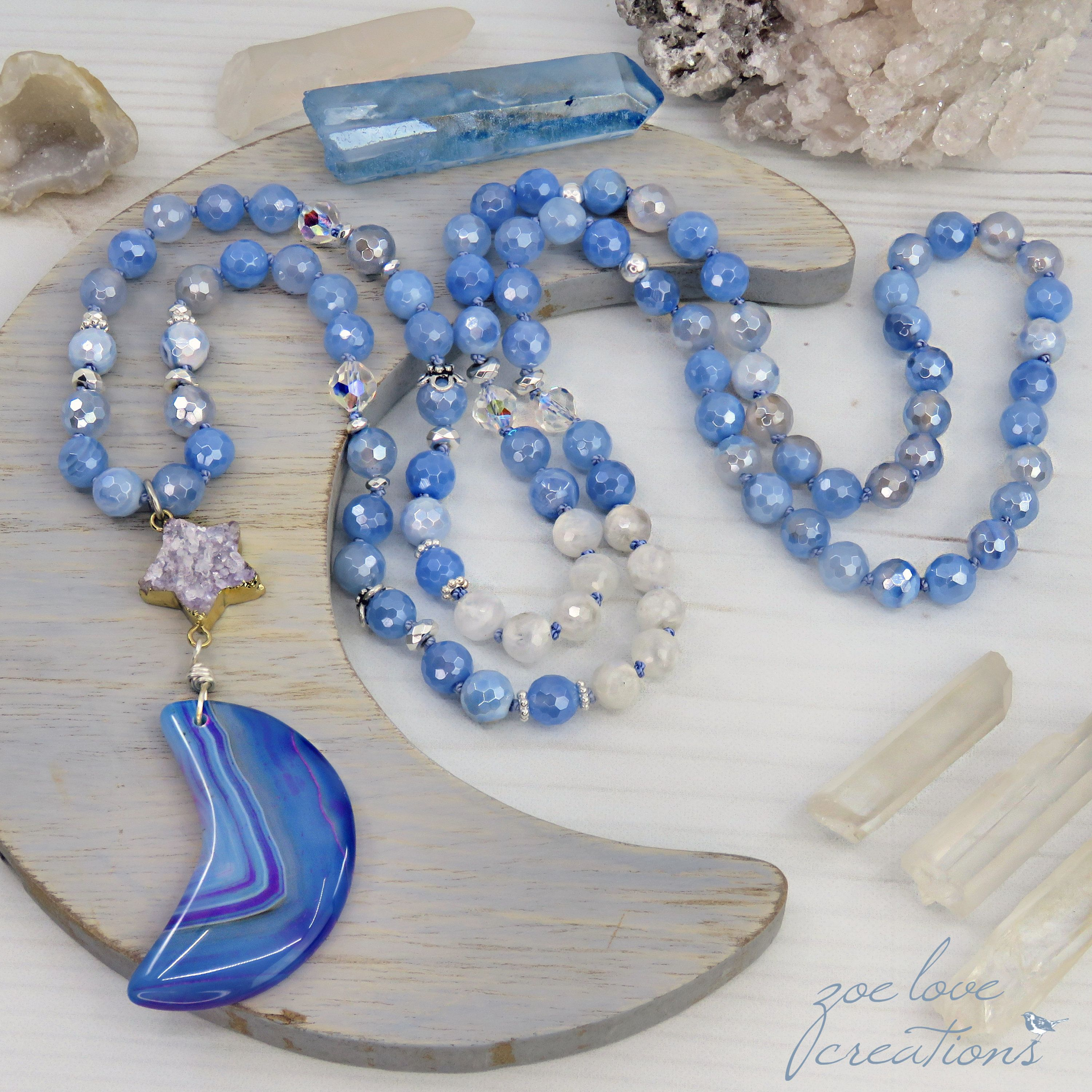 Celestial Collection Carved Blue Beads and Stars