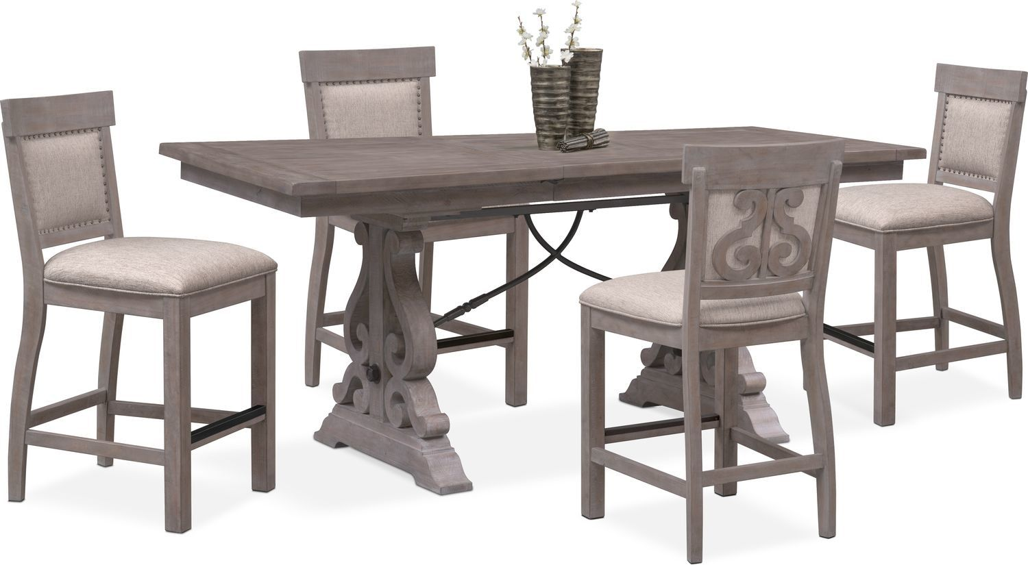 5167091d4a030 Charthouse Counter-Height Dining Table And 4 Upholstered Stools - Gray
