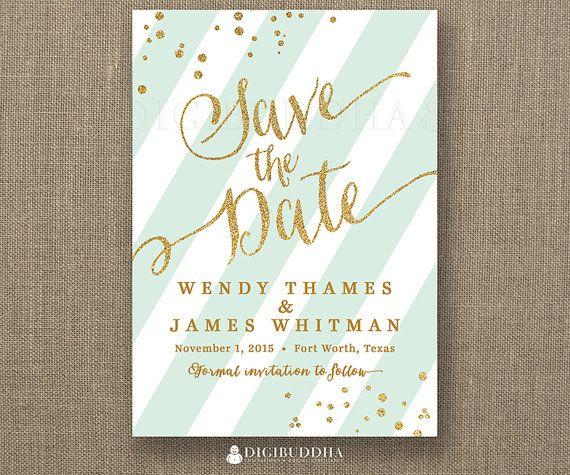 Mint Green And Gold Wedding Invitations: Gold Glitter Save The Date Invitation Mint Green Stripe