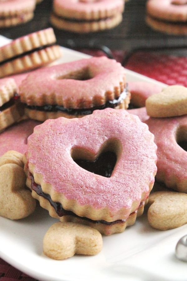 Peanut Butter & Jelly Linzer Cookies for Valentine's Day #PB&JDay #ValentinesDay