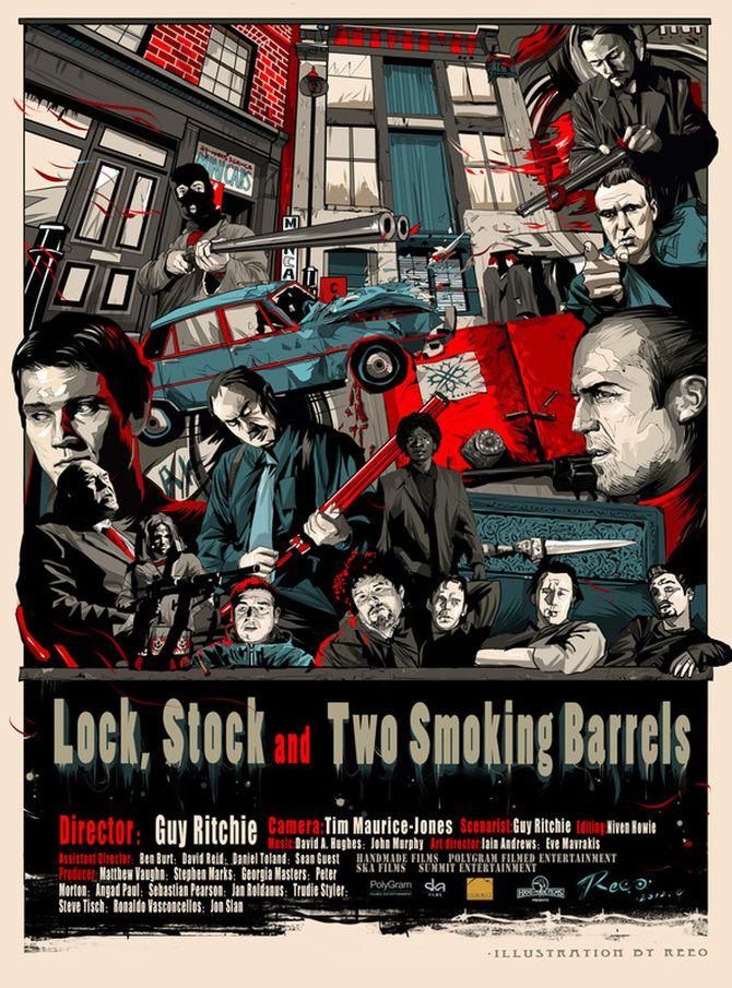 """""""BARRILES LOCK & Stock FUMAR"""" Cine Cartel - Reeo Ilustración"""