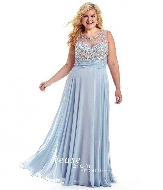 Prom Dress Sydney's Closet Plus Size TE1503 Light Blue sz 32