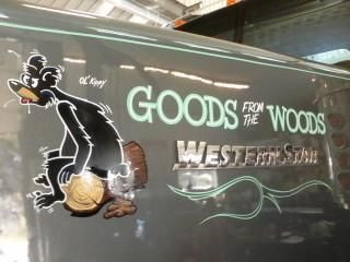Hand Painted Lettering And Graphics With Pinstriping On Commercial Logging Truck Ln Signs We Custom Make Signs To Or Truck Lettering Lettering Painted Letters