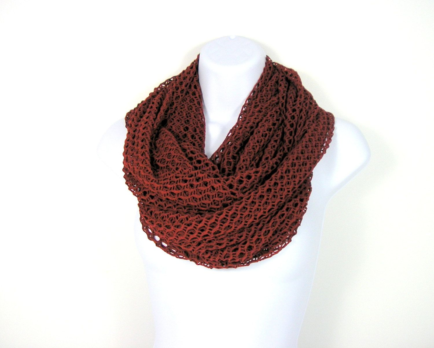 Scarves Chunky Mesh Infinity Scarves Circle Scarves Rust Infinity Scarves All Seasons Unisex Circle Scarves Extra Large Infinity Scarves by LooptheLoop on Etsy