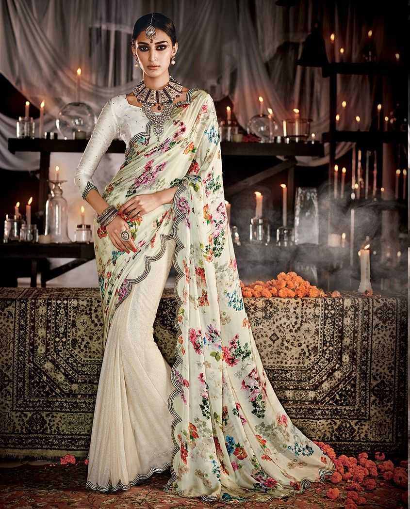 Wedding White Sarees Online: Off White Half And Half Embroidered Sari With Floral
