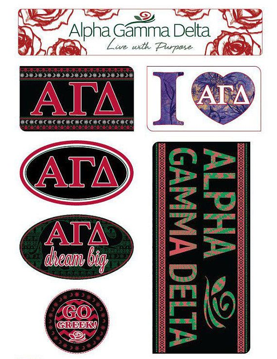 Get creative with our alpha gamma delta sticker sheet each sheet contains 7 high quality stickers printed on sturdy vinyl and are able to be remov